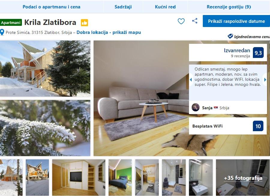 Apartmani KRILA ZLATIBORA Usluge Zlatibor